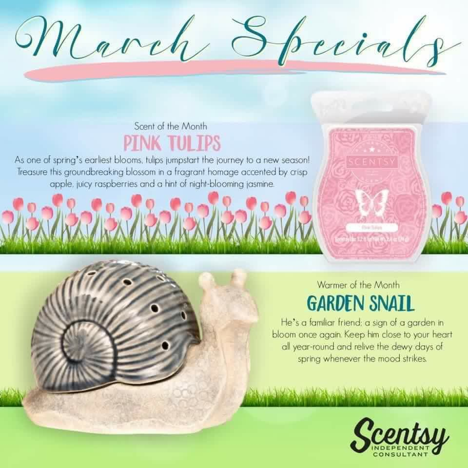 Scentsy March Warmer of the Month Garden Snail and Pink Tulips Melissa Dell Valencia