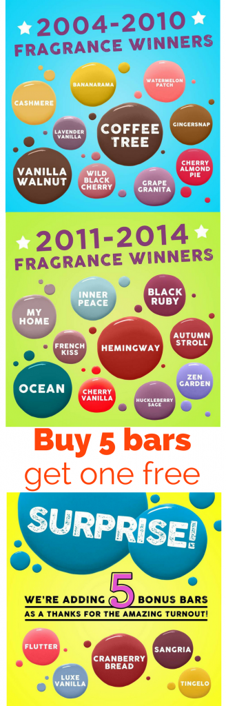 Scentsy's favorites are back - Bring Back My Bar Winners 2017 - Buy 5 bars get one free
