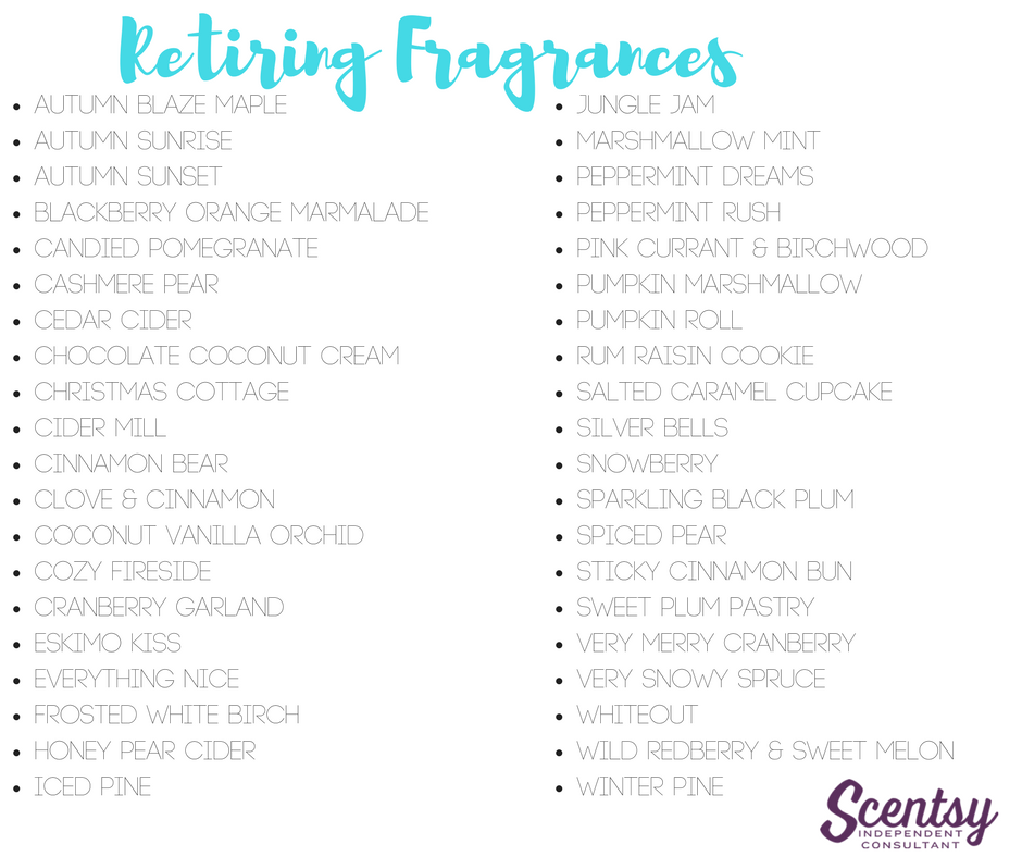 Retiring Scentsy Fragrances - Fall/Winter 2016
